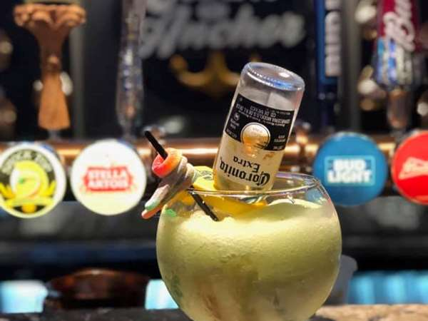 It's our classic Sourkey, a Coronita, Lime Slush, and of course full of treats! The perfect patio drink!